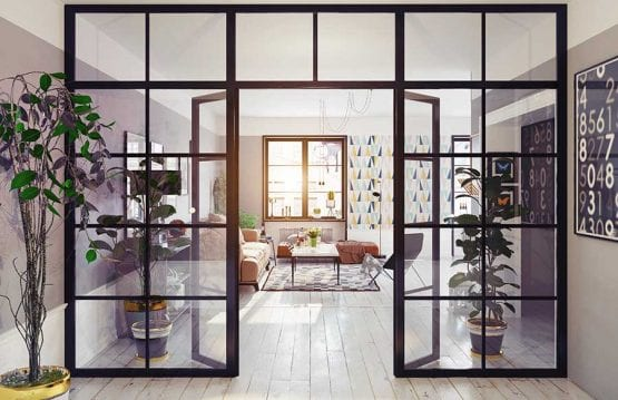 Crittall style glass interior partition with double doors