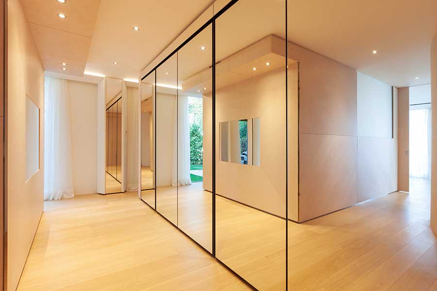 Full height mirrored wardrobe doors