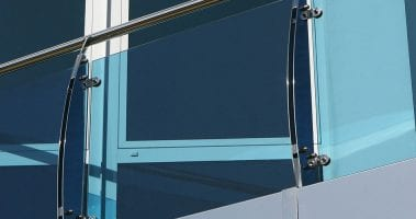 Blue glass balcony balustrade