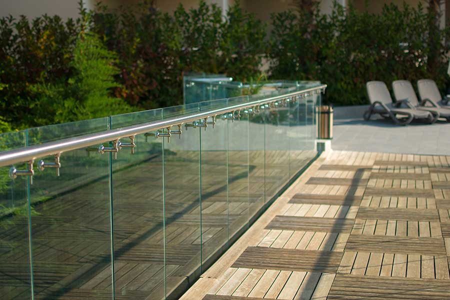 Glass balustrade in a garden