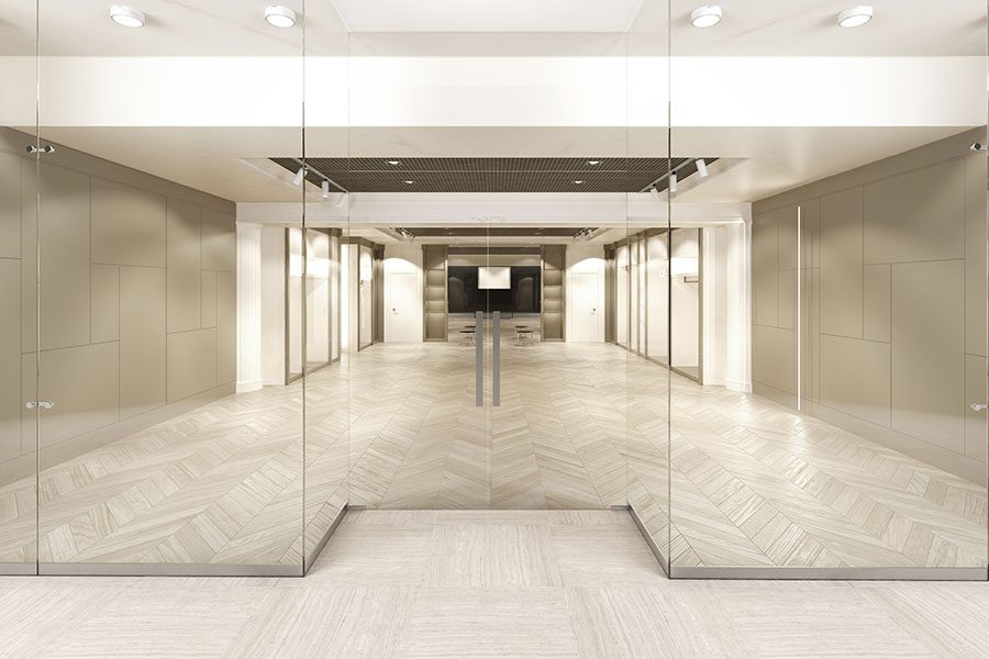 Clear glass office partition