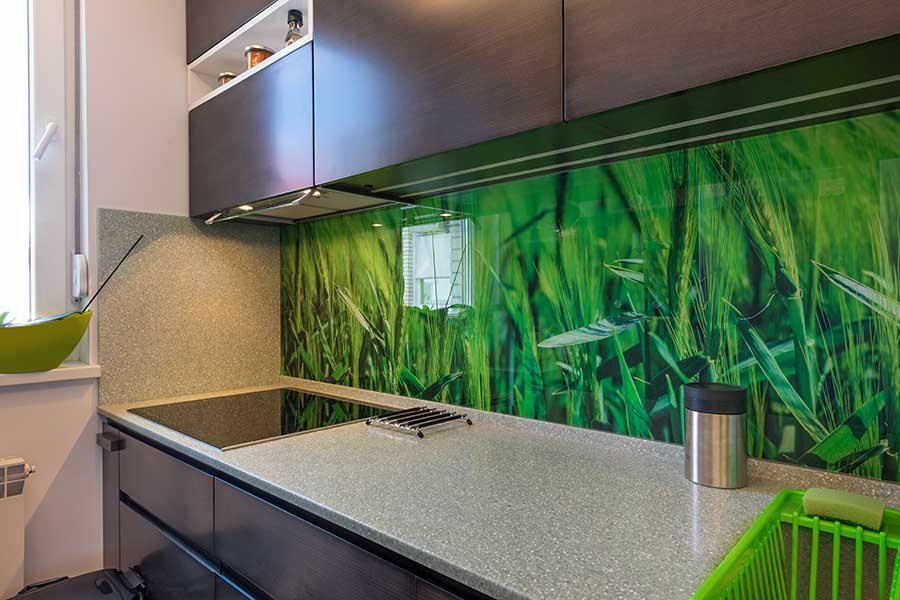 Printed kitchen splash back with grass image