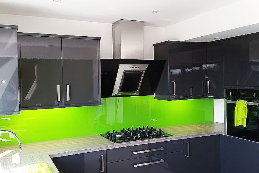Bright green painted glass splashback
