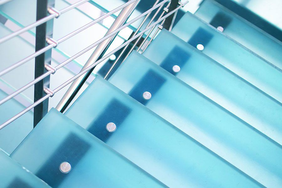 Laminated and toughened glass stair treads