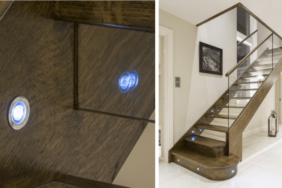 Staircase glass risers with built-in LED lights