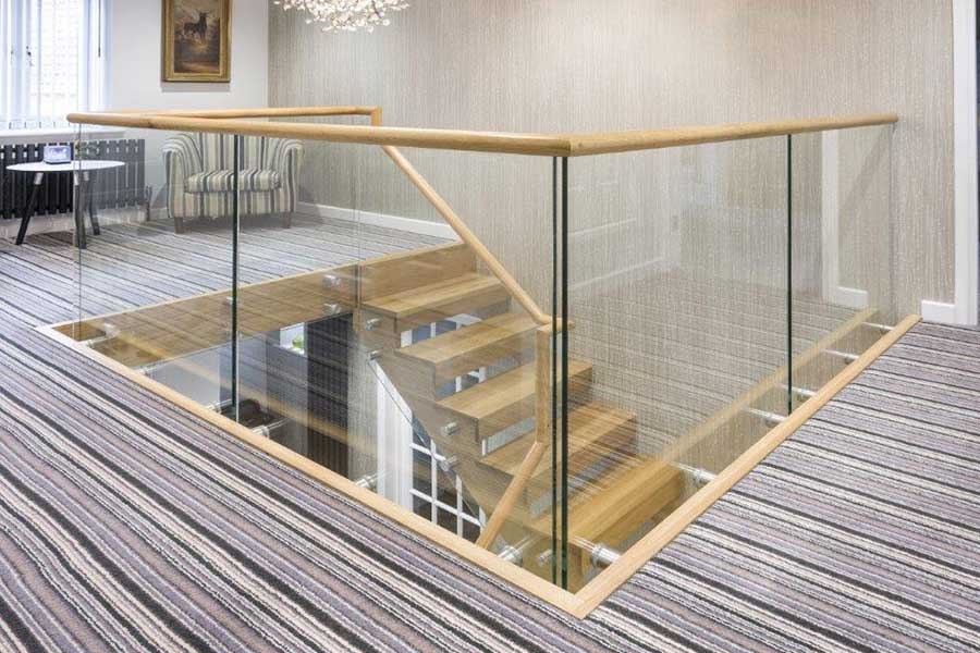 Large glass balustrade with stand off brackets