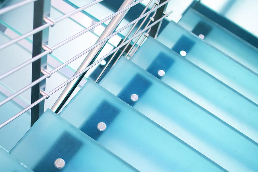 close up of frosted glass staircase