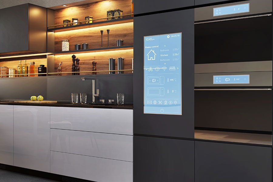 Kitchen of the future with appliance touch screen