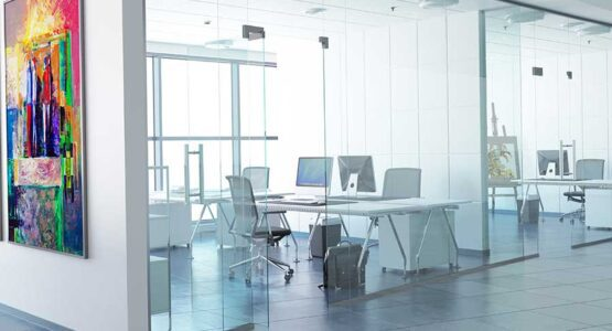Stylish glass office partitons